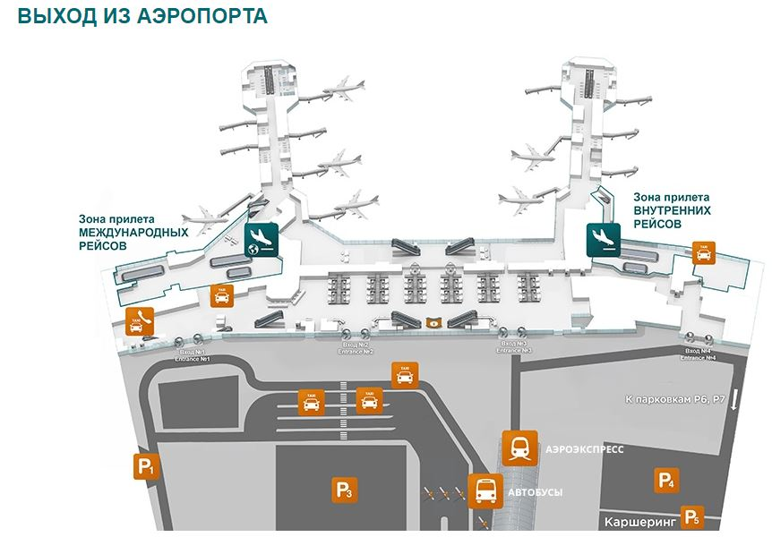 Схема международного аэропорта Домодедово
