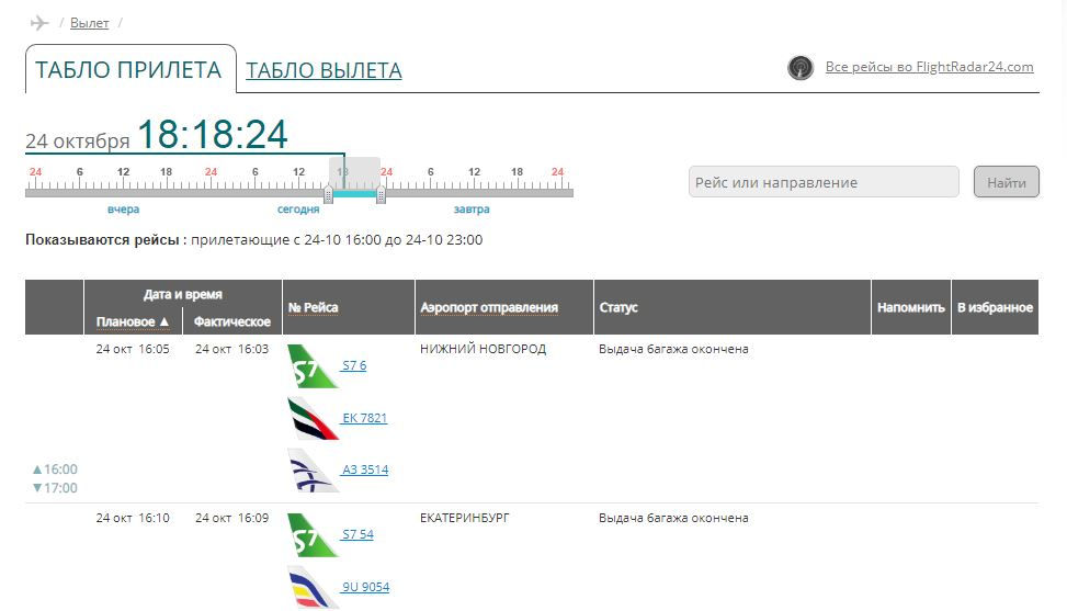 Аэропорт Домодедово - онлайн табло вылета и прилёта
