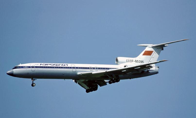 Ту-154, на котором был совершён первый международный рейс из аэропорта Казань