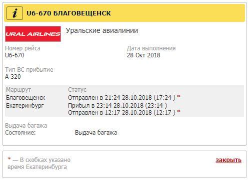 Детальная информация о рейсе на онлайн табло аэропорта Кольцово