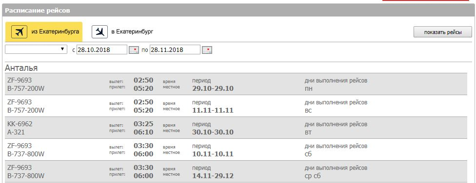 Расписание рейсов аэропорта Кольцово города Екатеринбург