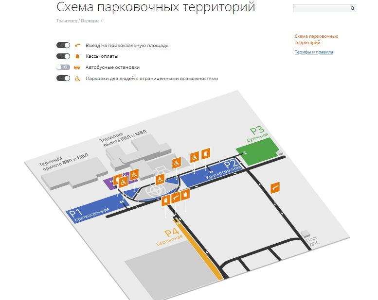 Схема парковочных территорий международного аэропорта Минеральные Воды