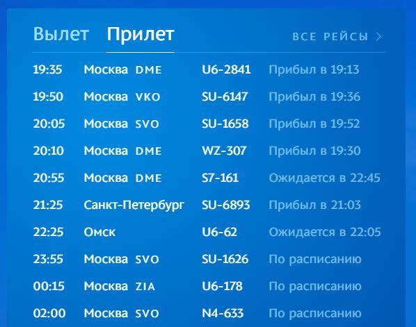 Информация о прилёте на официальном сайте аэропорта Симферополь