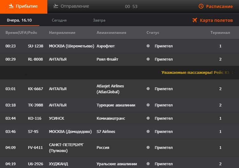 Онлайн табло на вчера на официальном сайте аэропорта Уфа