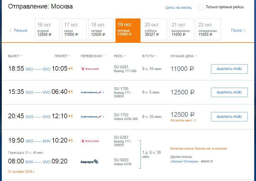 Подходящие рейсы от группы Аэрофлот