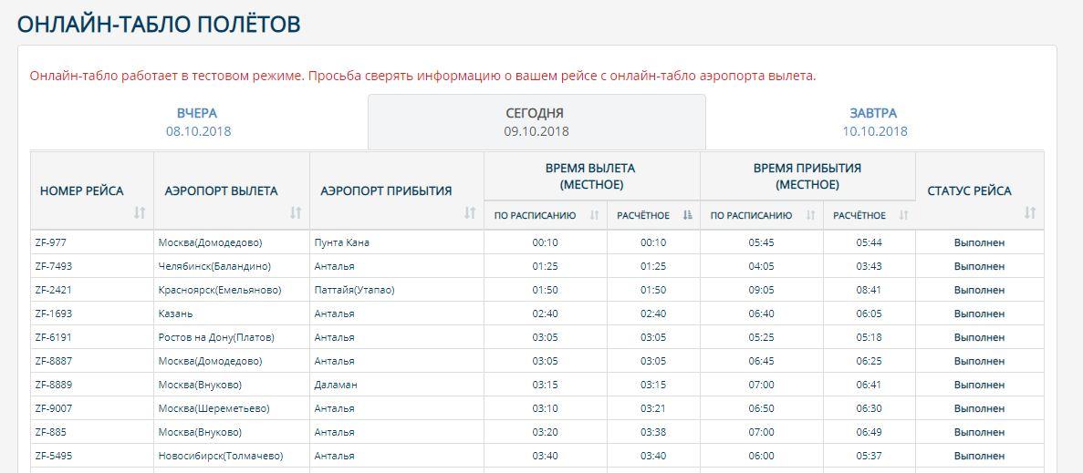 Онлайн-табло полётов авиакомпании АЗУР эйр