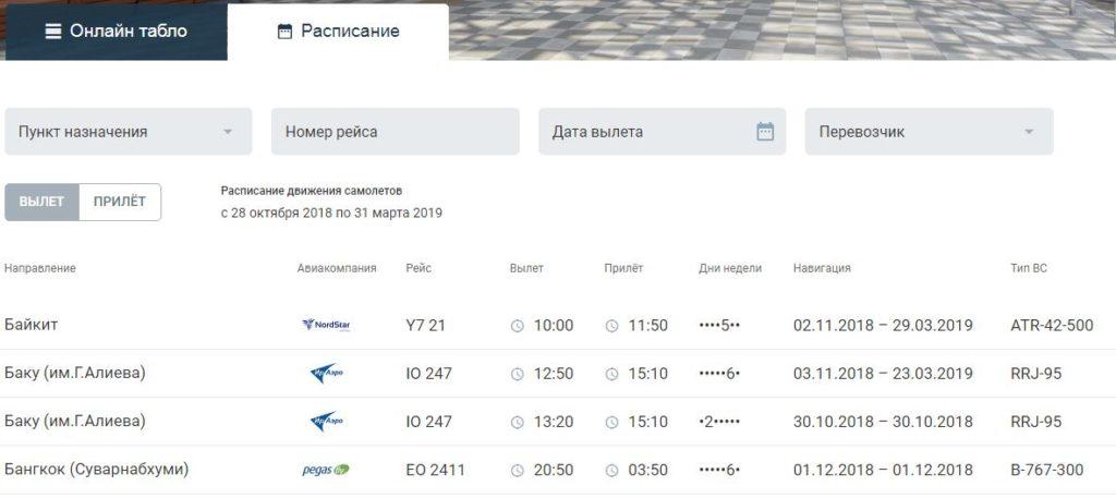 Расписание рейсов на официальном сайте аэропорта Емельяново