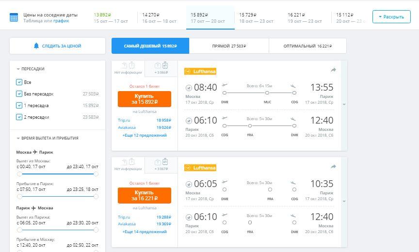 Список рейсов с дешёвыми авиабилетами на Авиасейлс
