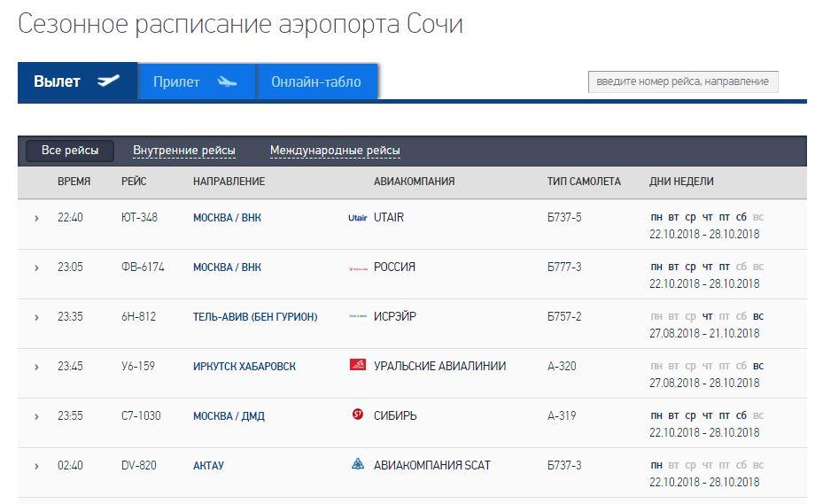 Сезонное расписание международного аэропорта города Сочи
