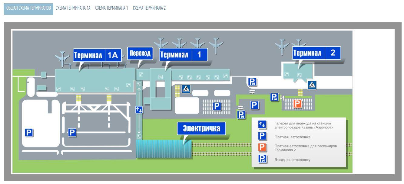 Общая схема терминалов аэропорта Казань