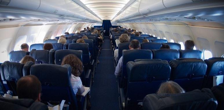 В салоне самолёта авиационной компании Победа
