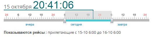 Временная шкала на онлайн-табло аэропорта Домодедово