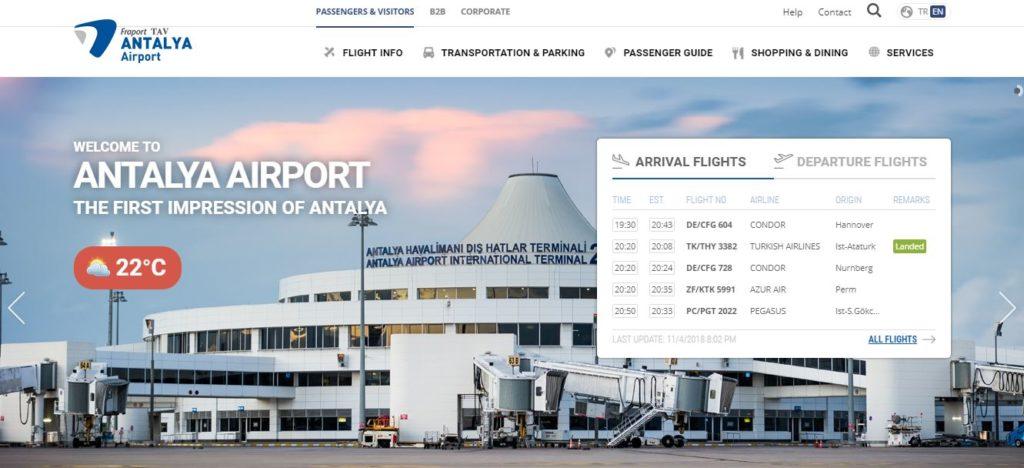 Официальный сайт международного аэропорта Турции Анталия