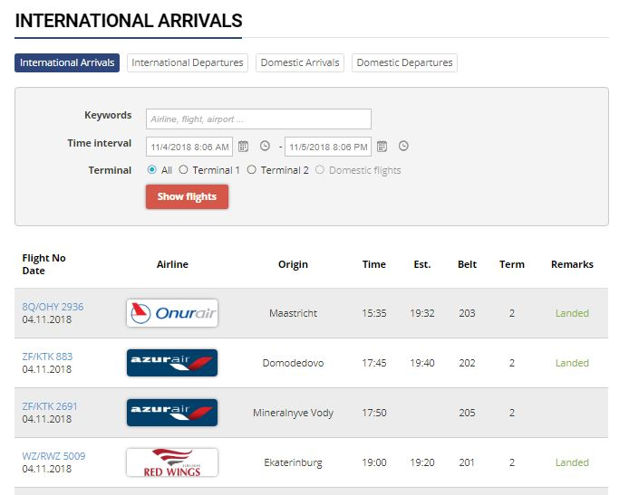 Табло прилёта на официальном сайте аэропорта Анталия