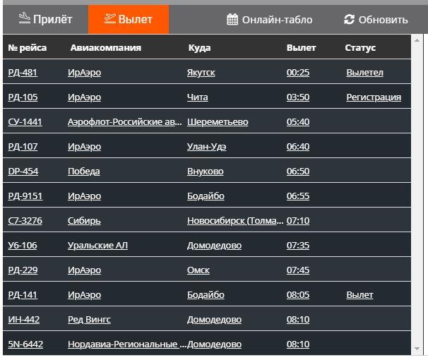 Табло вылета на главной странице официального сайта аэропорта Иркутск