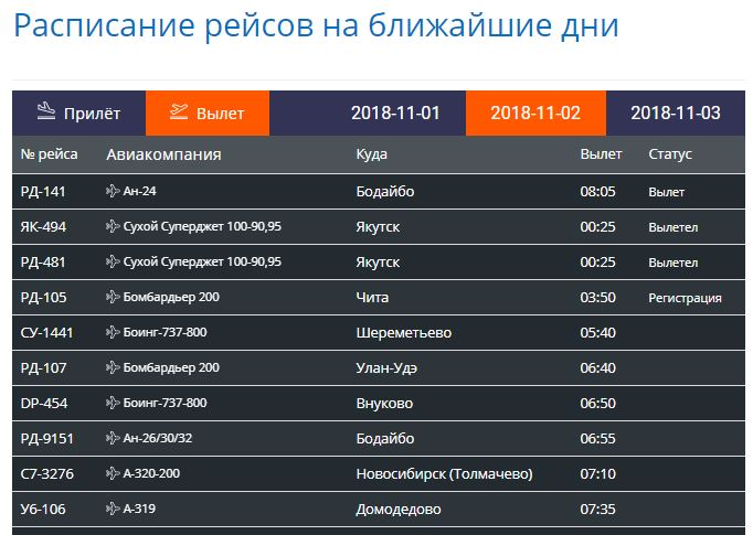Расписание рейсов на ближайшие дни на онлайн табло аэропорта Иркутск