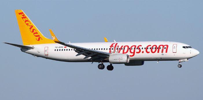 Самолёт бюджетной турецкой авиакомпании Пегасус
