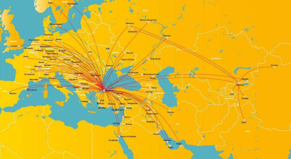 Карта маршрутов турецкой бюджетной авиакомпании Пегасус